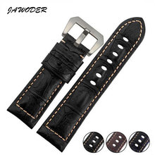 JAWODER Watch band Brown/Black/Blue 24mm men Crocodile lines Genuine Leather watch strap stainless steel Silver buckle for PAN