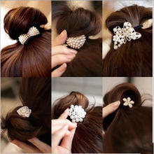 Cute Girls Headwear Rhinestone Pearl Bow Butterfly Flower Elastic Hair Bands Rope Hair Accessories for women Rubber Band Ties