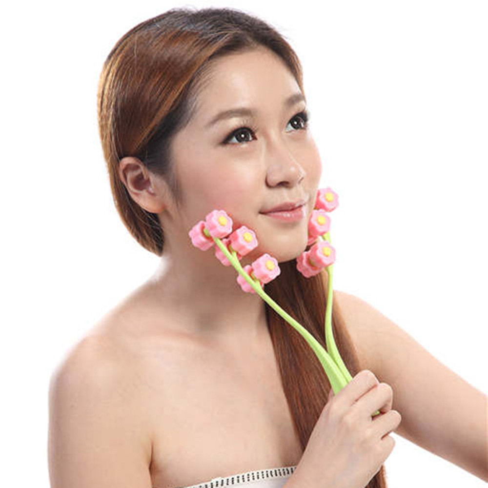 Flower-shaped Thin Roller Face Massager Cleansing Instrument Slim Double Chin Handheld 12 Roller Cheek Face Up Tool<br><br>Aliexpress