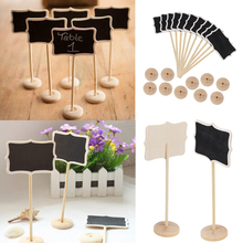 5PCS Mini Wooden Wood Chalkboard Blackboard On Stick Stand Holder Table Number For Wedding Event Decoration Party Supplies(China)