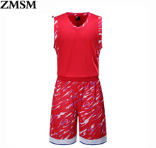 AXFAM 2017 New Unisex Basketball Jersey Set With Shorts Boy Sport Training Basketball Suits Reversible Big Size Can Customized