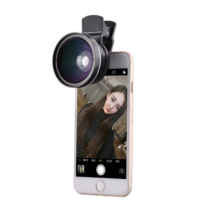 37mm 0.45X Super Wide Angle Lens 12.5X Macro Lens Clip For iPhone Xiaomi Samsung Cell Phone Lens 2 in 1 Camera Lens Kit 7