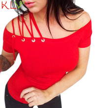 KLV Good Deal 2017 Summer 3 colours Women Off Shoulder Short Sleeve Tops Solid Bandage T Shirt 1pc*30