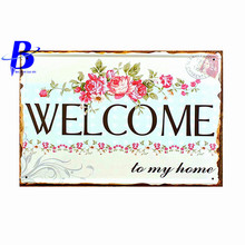 Placas Decoracion Antiguas WELCOME Vintage Tin Signs Retro Metal Plate Painting Wall Decoration Custom Neon Sign Metal Sign Beer