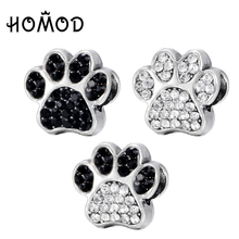HOMOD Dog Paw Prints Crystal Charm Beads fit Pandora Charm Bracelet For Women DIY Jewelry Accessories Gift