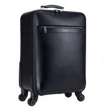 feixueer 2017 New Designer Business Leather Trolley Suitcase 20 Inch High Quality Travel Password Case Spinner Luggage Bag Black(China)