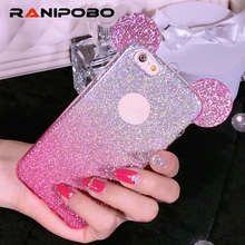 6 s 6S Luxury Bling 3D Mouse Ears silicone Glitter Gradient Case for iPhone5 7 7 Plus Case Cover with Hang rope ph5S 6 6S 6Plus