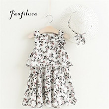Fanfiluca Children's Clothing Girls Dresses Summer 2017 Kids Dresses +Hat Girls Floral Bohemian Fashion Chiffon Beach Dress