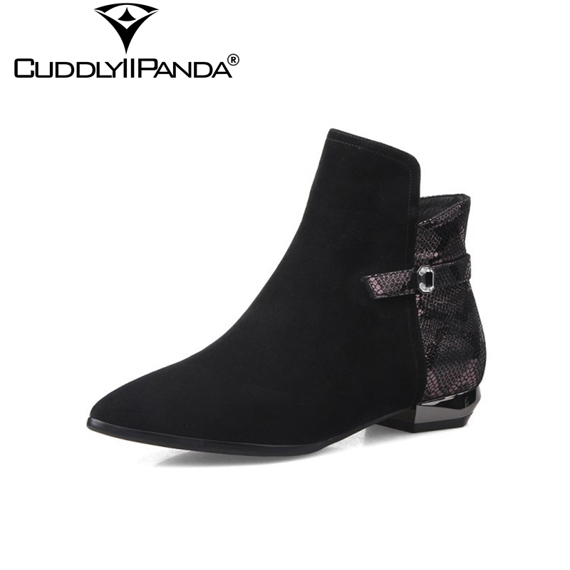 CuddlyIIPanda 2018 Spring Snake Skin Chelsea Boots Women Ankle Boots Luxury Design Cow Suede Zip Buckle Martin Boots Botas Mujer<br>