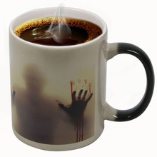 1Piece The Walking Dead Mugs Color Change Ceramic Coffee Mug and Cup Fashion Gift Heat Reveal Magic Zombie Mugs