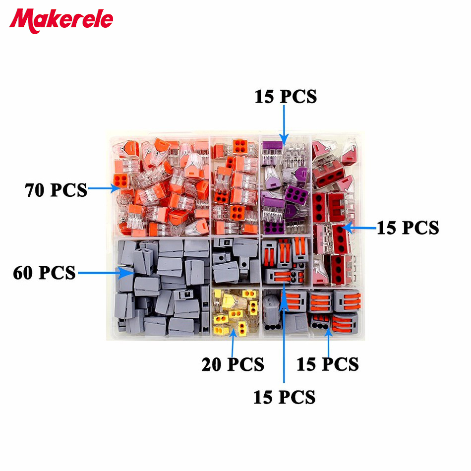 210PCS Wire Connector for 5 room mixed 7 models Compact Fast wire connector mini Wiring Connector Conductors Terminal Block<br>