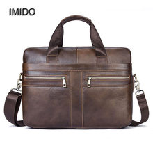IMIDO 2018 New Real Genuine Leather Men Tote Bag Shoulder Bags for Male Cross Body Handbag briefcase Business Laptop Black NB004(China)