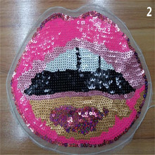 Free shipping women girl clothes pink sequins patches Lips logo fashion embroidery patch for clothing fabric DIY