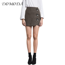Buy DOMODA Fashion Women Plaid Mini Skirt Vintage High Waist Female Bodycon Skirts Back Zipper Big Buttons Ladies Casual Bottoms for $12.70 in AliExpress store