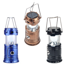 Classic style 6 LEDs Rechargeable Hand Lamp Collapsible Solar Camping Lantern Tent Lights for Outdoor Lighting Hiking Camping