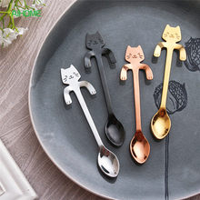 Creative Stainless Steel Cartoon Cat Hand Coffee Tea Spoon Ice Cream Dessert Long Handle Hanging Spoons Tableware Kitchen Tools(China)
