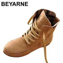 BEYARNE Hot Sale Women Ankle Motorcycle Boots Suede Leather Lace-Up Martin Boots Womans Spring Autumn Flats Shoes