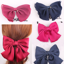 Chiffon Supper Large Bow Flower Spring Hair Clip for Women Vintage Style Beautiful Hair Bow Flower for Clips(China)