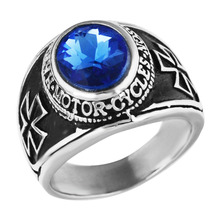 Mens blue CZ crystals Army Marine Military Cross silver black Ring,stainless steel fashion finger band ring for women ,size 7-13