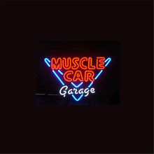 "17*14""  MUSCLE CAR GARAGE  NEON SIGN Signboard REAL GLASS BEER BAR PUB  Billiards display  Restaurant  Shop outdoor Light Signs"