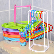 Creative Plastic Clothes Hangers Save Space Finishing Frame Hanger Companion Rack Adult And Children Hanger 4 colors IC895607(China)