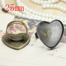 100pcs25mm Antique Brass Pad Open Adjustable RING teardrop Base Cabochon Size:,Ring base beads