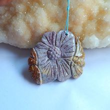 Natural Stone Carved flower Ocean Jasper Lucky Necklace Pendant 50*45*5mm 16.35g handmade fashion jewelry pendant accessory