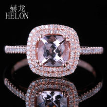 HELON Hot Sell Jewelry 6mm Cushion 0.85CT Pink Morganite Pave 0.3ct Diamond Haloes Solid 14K Rose Gold Engagement Wedding Ring(China)