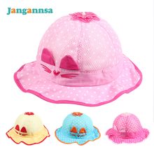 Polka Baby Caps Cartoon Cat Baby Hat With Ears Rabbit Panama Sun Cap Spring Summer Girls Cap Dots Flower Princess Bucket(China)