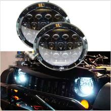 1pair 7 Inch 75W Hi/ Lo LED Car Headlight DRL 12V 24V Driving Light for Jeep Hummer Camaro FJ, Round LED Worklight bulb for Jeep