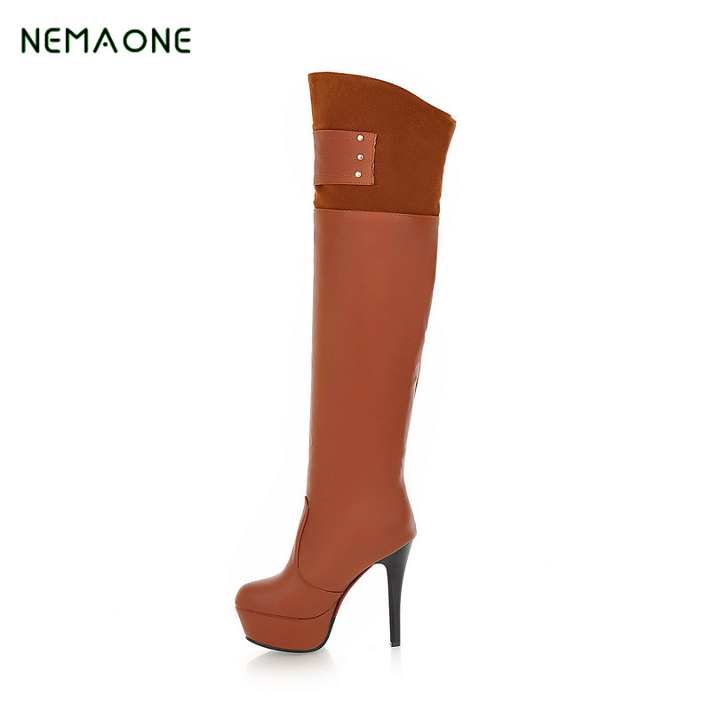 NEMAONE 2017 new winter woman black boots over the knee thigh high boots sexy high heels sequined<br>