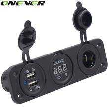 12V Dual USB Auto Car Cigarette Lighter Socket Splitter DC 5V 2.1A Power Adapter Charger for iPhone Digital Voltmeter Display