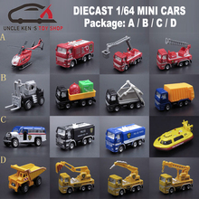 Good Quality 1/64 Scale Diecast Truck Model 4pcs/Set, Metal Fire Engine Set, Alloy Toy Cars With Free Wheel Function