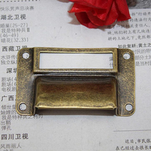 Antique Bronze cabinet hardware pulls vintage Wooden box bin furniture Card Holder Drawer Pull label holders Label Frames handle