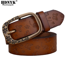 2017 New Genuine leather belts for women fashion metal pin buckle women belt brand thick belt(China)