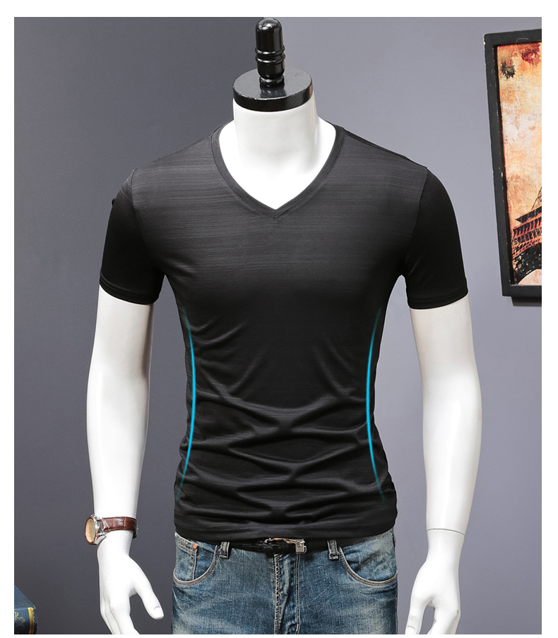 2018 Summer High quality men T shirt casual short sleeve V-neck Mercerized cotton t-shirt men brand icy Silk black Co (15)