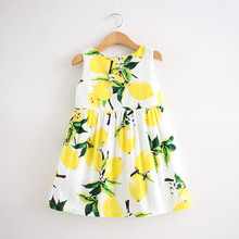 Girls sundress 2016 summer new children's clothing children dress princess dress round neck sleeveless lemon dress