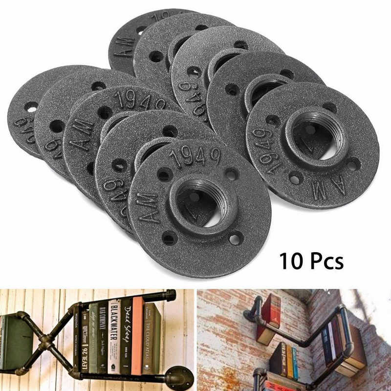 10pcs 1 Black Iron Cast Flange Threaded Wall Mounted Iron Base Bracket Tube Pipe Fittings Industrial Pipe Flanges Mayitr<br>