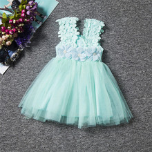 Fairy Princess Lace Flower Children's Girls Dresses Kids Birthday Party Wear Lace Tutu Girls Dresses Baby Girl Baptism Clothes