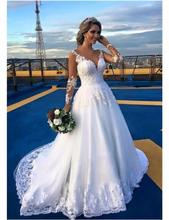2016 Sexy V-neck Lace Long Sleeve Wedding Dresses Appliqued Beaded Sweep Train Wedding Bridal Gowns Vestido De Noiva
