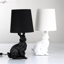 Resin rabbit shape Modern Creative Led table light,Black/White Cloth lampshade table lamp for living room bedside desk lamp Deco