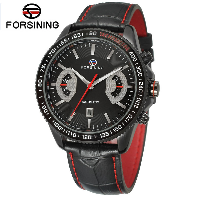 FORSINING Casual Mens Erkek Kol Saati Day Auto Mechanical Watches PU Leather Strap Wristwatches Free Ship<br>