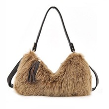 Faux Rabbit Fur Clutches Women Tassels Shoulder Crossbody Bag Fashion Designer Lady Soft Leather Handbags Purse