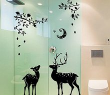 Removable Moonless Carton Deer Silhouette Entrance Bathroom Modern Home Decorative Green Wall Stickers