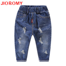 JIOROMY Baby Boys Pants 2017 Children Autumn Korean Hole Jeans Cartoon Source High Waist Pants for Boys Kids Clothing(China)