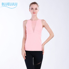 Bluelulu 2017 Women's Sports Aerobics Tight Yoga Shirts with Bra Pad Sexy Mesh Patchwork Sleeveless Dance Vest Plus Size S-2XL
