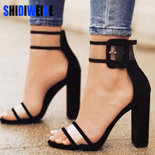SHIDIWEIKE Women Sandals Platform Gladiator High Heels Clear Buckle Strap Spring Summer Sexy Shoes Woman Casual Fashion Black