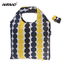 NAVO Brand Pongee fabric shoping bag foldable reusable grocery bags polyester shopping bags fashion designer casual tote bag
