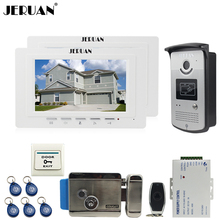 JERUAN two luxury 7`` LCD  Video Door Phone System 700TVT Camera access Control System+Electronic lock+Remote control Unlock