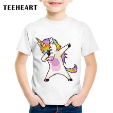 TEEHEART Boys/girls's Modal T-shirt Fashion Dabbing Unicorn Cartoon Printed T shirt 18M-10T Children Summer Tee Shirts TA581